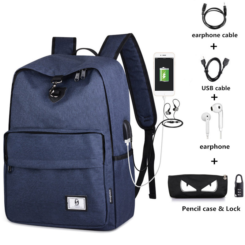 Men Laptop Backpack USB Charging SchoolBag Anti-theft Waterproof Backpack School Backpacks For Boys Sac A Dos Rucksack Mochila