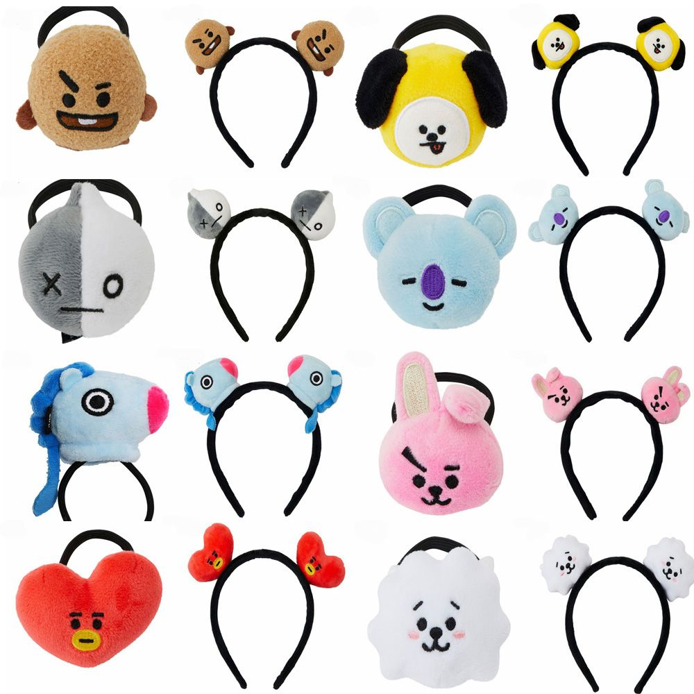 Girl's Accessories 1 Piece Kpop Bts Bt21 Lovely Cartoon Animal Elastic Hair Bands For Girls Lady Ponytail Rubber Band Hair Ties Rope Accessories Apparel Accessories
