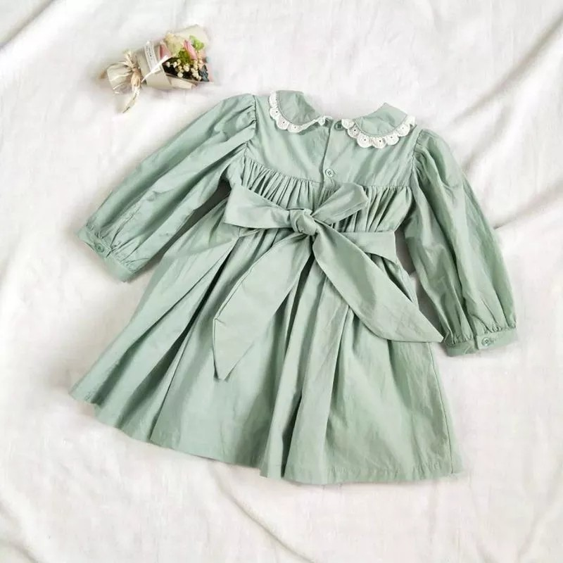 Image 3 - autumn baby smocked dress handmade green girl dresses long sleeve kids clothes fall cotton school children handmade boutiques-in Dresses from Mother & Kids