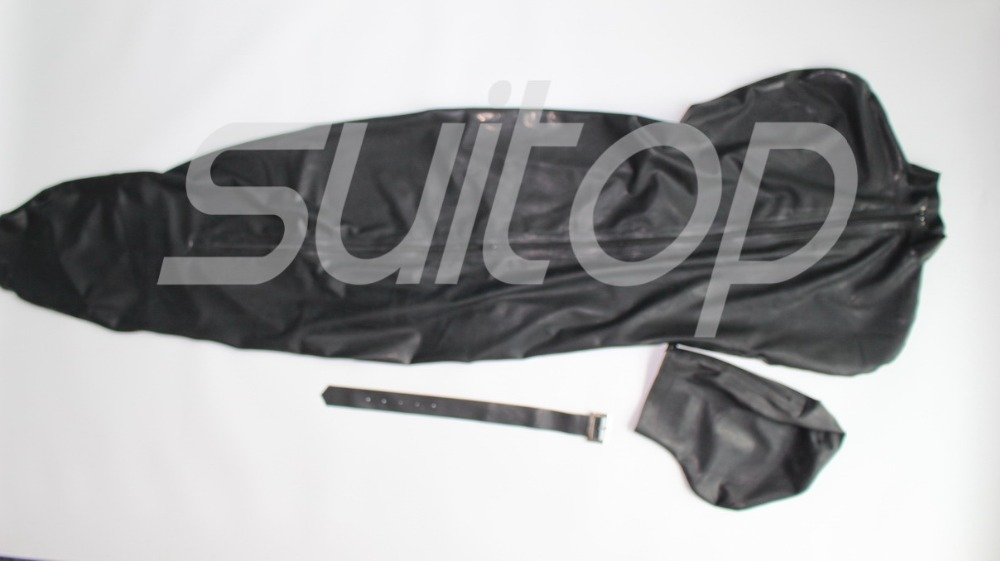 Latex Sleeping Rubber Bag Catsuit No Including Belts And With Arm Pocket Inside