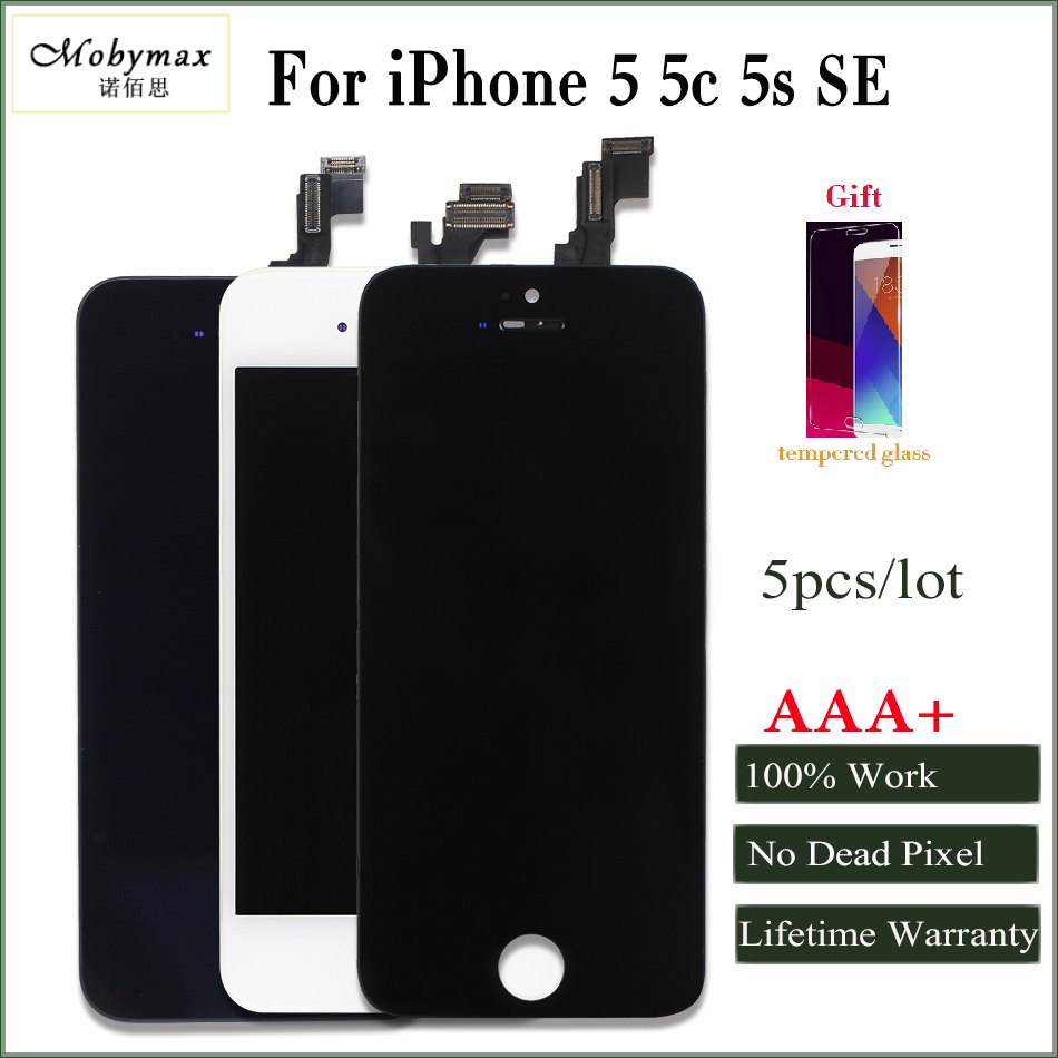 Mobymax 5PCS AAA+ Pantalla For iPhone 5 5S 5C SE LCD Display Screen with Original Digitizer Black/White Promise all test Work