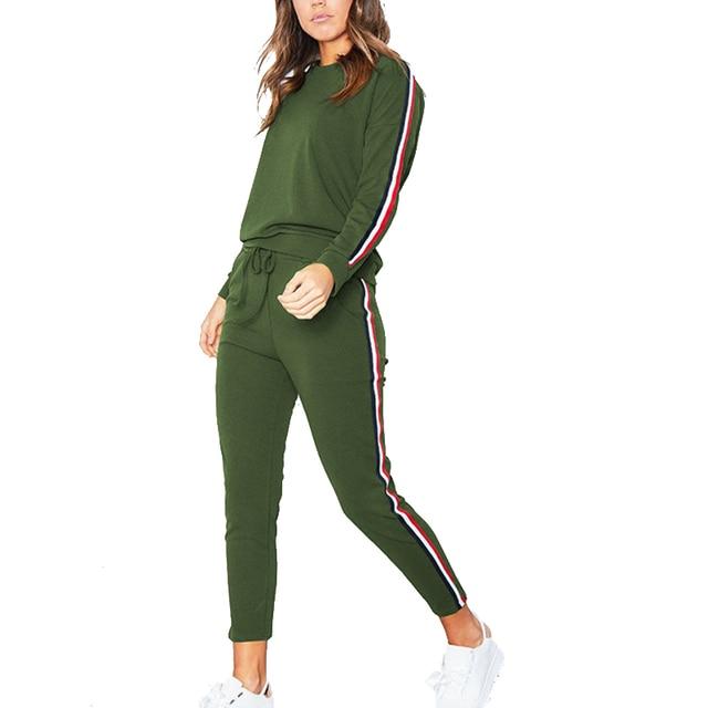 b0da7271cf8e Армейский зеленый спортивный костюм комбинезоны для девочек зима 2018 Мода  Полосатый повседневное комбинезон для женщин комплект