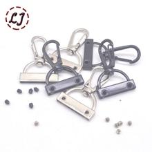 10 шт. серебристо-черная металлическая багажная сумка, собачья Пряжка, карабин, вешалка для сумки, карабин, винтовая застежка, сделай сам, швейный брелок для ключей ручной работы, кнопка