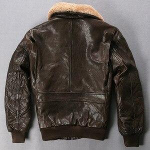 Image 2 - Avirex Chaqueta de vuelo de la Fuerza Aérea para hombre, chaqueta de cuero genuino con cuello de piel, abrigo de piel de Oveja Negra y marrón, chaqueta Bomber de invierno