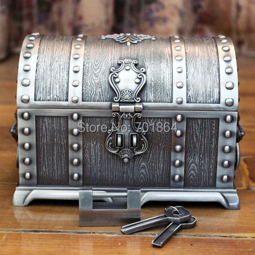 Big Size Pirates of the Caribbean Treasure Chest with Lock 2 Layers Vintage Jewelry Box Carrying