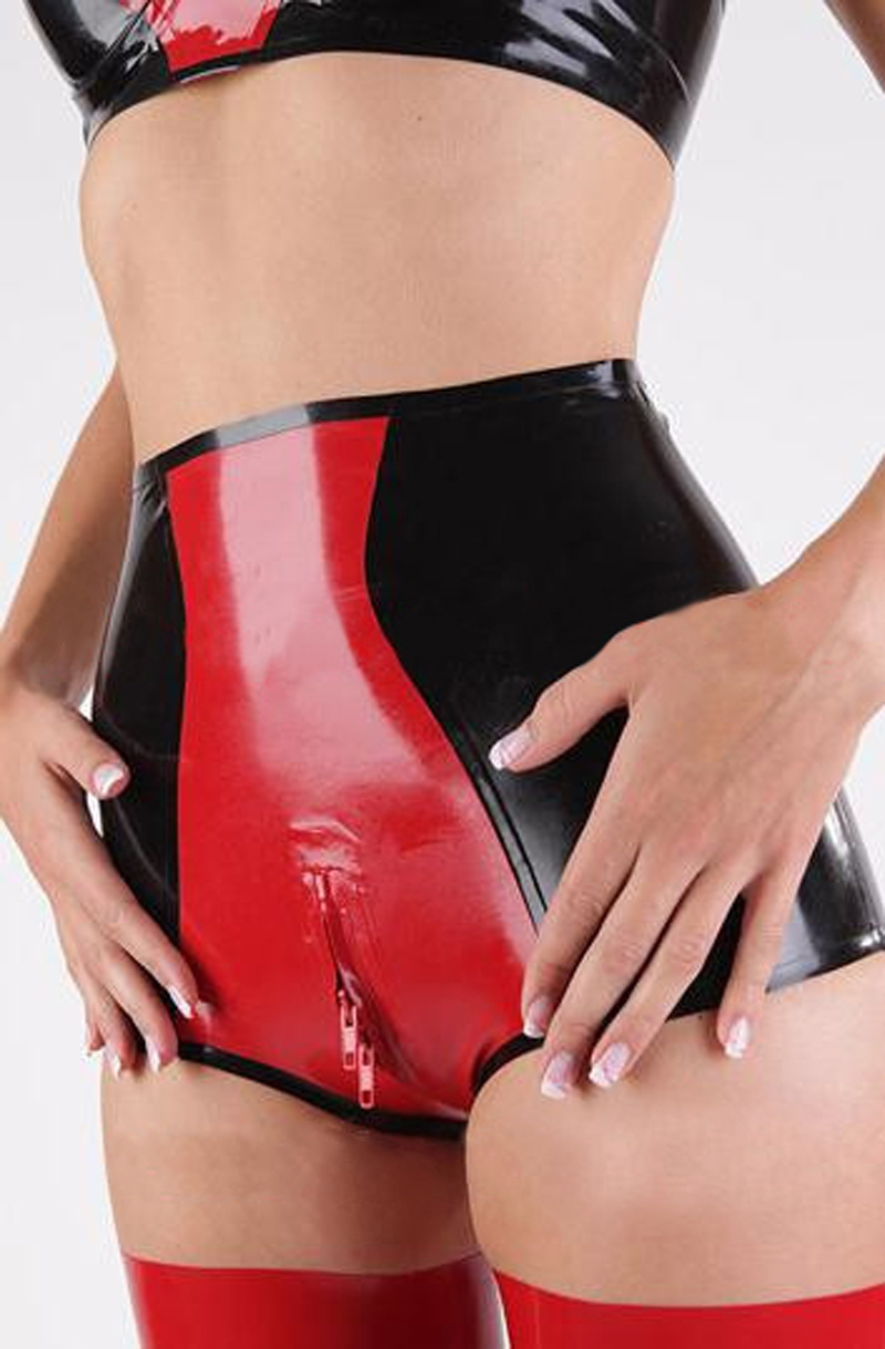 New Handmade Sexy Women Latex Underwear High Waist Black With Red Panties With Two Way Crotch Zipper Custom Made
