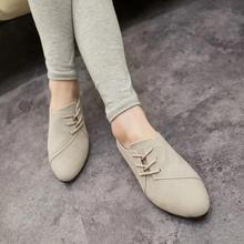 New Hot Selling Spring Casual Women Shoes Women Nubuck Leather lace-Up Flat Shoes Handsome Head Toe Shoes F695