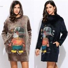 Women Long Sleeve warm sweatershirts Loose Hooded Cartoon Printing clothing lady Casual Lint Dress hoodies Pullovers dresses