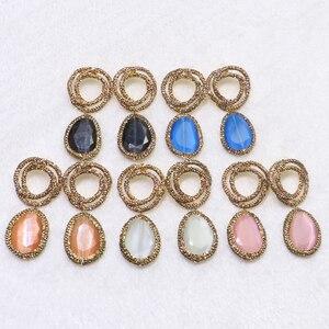 Image 1 - 3 أزواج من أقراط حجرية بعيون القطط للبيع بالجملة أقراط من أحجار الراين الطبيعية الممهدة أقراط من الأحجار بألوان مختلفة مجوهرات 9087