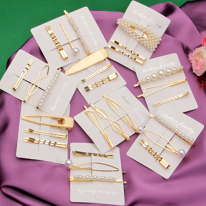 3Pcs/Set Pearl Hair Clip Hairband Comb Minimalist Bobby Pin Gold Color Barrette Hairpin Headdress Accessories
