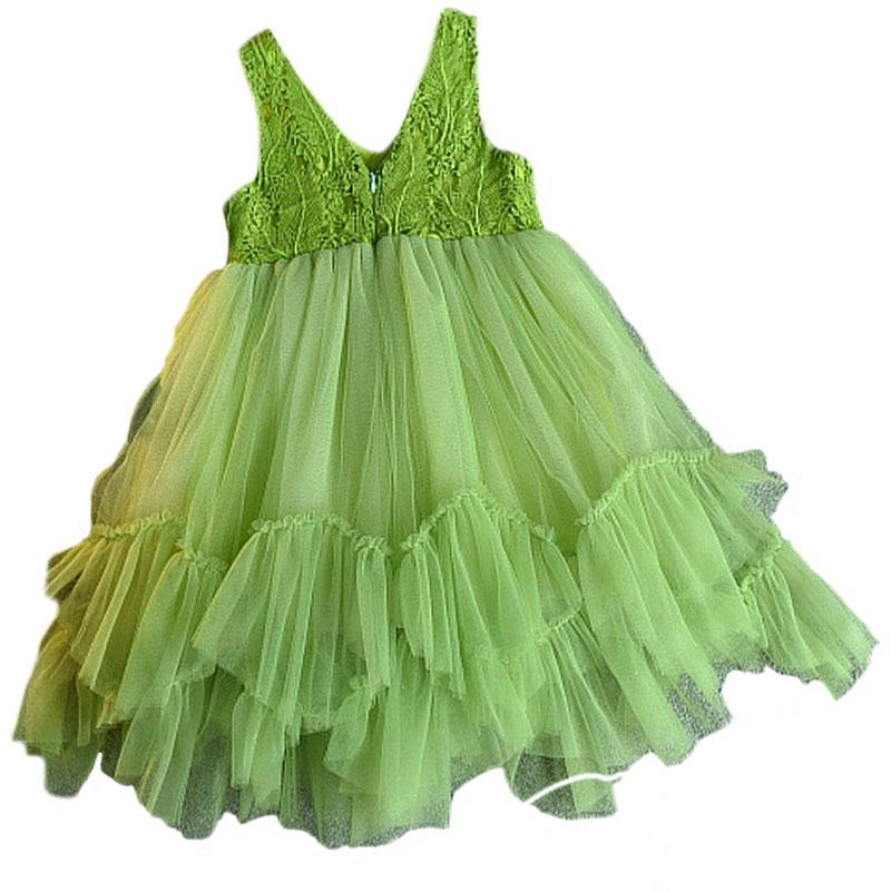 Bliheart Verde Niñas Vestido 2017 Verano Deguisement Enfant Vetement Fille Niños Ropa de Encaje Tutu Elbise Princesse Bata Bebé