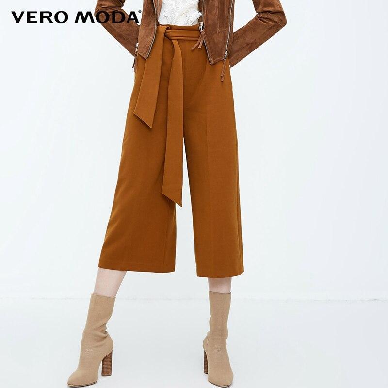 Vero Moda New Women's High Waist Leisure 3D Side Zip Wide-leg Lace-up Capri Pants | 31836J515
