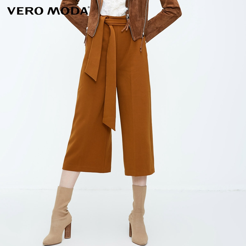 Vero Moda New Women's High Waist Leisure 3D Side Zip Wide-leg Lace-up Capri Pants | 31836J515