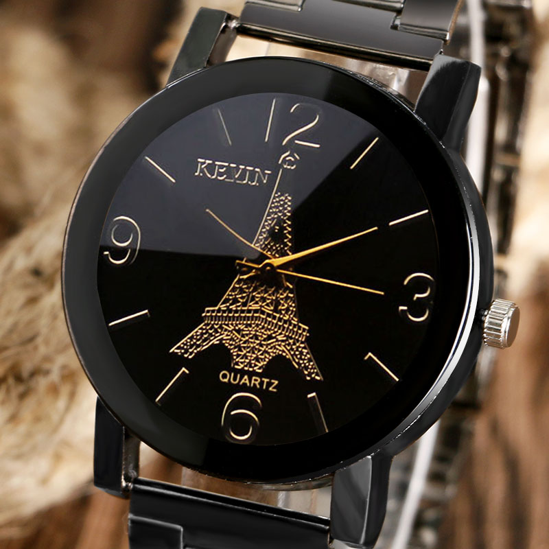 Fashion Black Steel Metal Band Eiffel Tower Pattern Dial Quartz Wrist Watch Bracelet Mens Boys Gifts Q1261 high quality butterfly decor eiffel tower pattern removeable wall stickers
