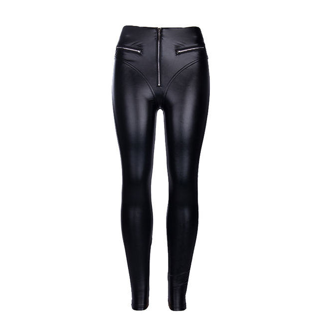 Punk Skinny PU Leature Pants Women Sexy High Waist Black Female Pant Summer Atyumn Winter Trousers Lady Pants Casual Gothic Pant 6
