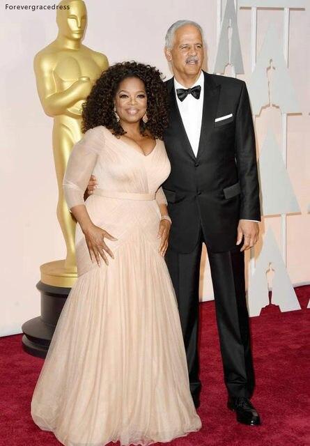 Oprah Winfrey Oscar Celebrity Dresses plus size v neck sheath chiffon with long sleeves mother of bride groom dresses BO9521 144 (12)