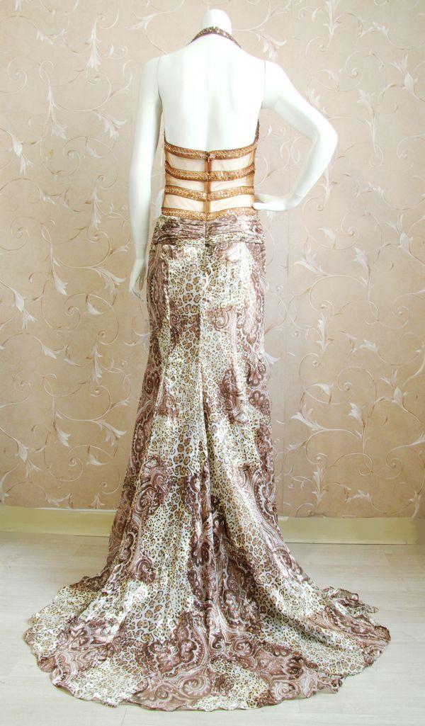 Arlene sain femmes Moyen-Orient Dubaï personnalisé exotique léopard soie Brûlé perlée Lourde sexy gaze de fuite robe 256 - 3