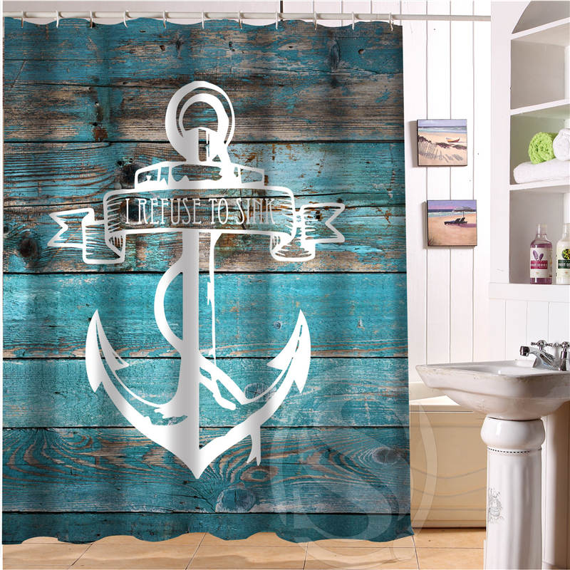 Aliexpress.com : Buy New Arrive Wood And Anchor Custom Shower Curtain  Polyester Fabric Custom Bathroom Curtain With Hooks LQ023u9 From Reliable  Custom ...