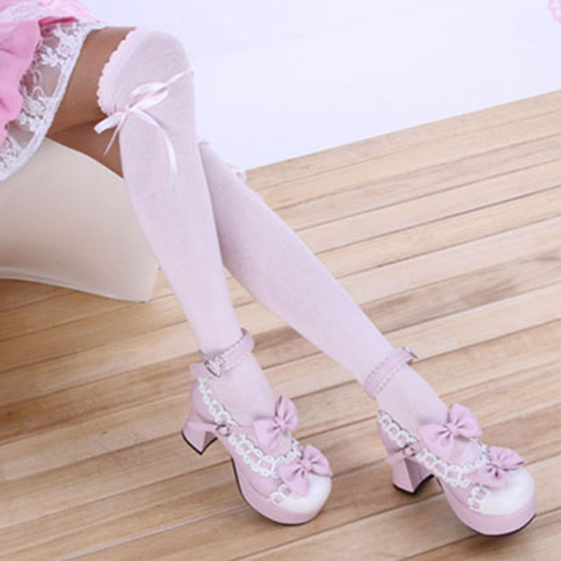 2018 Newest Women Ribbon Bow Boot Stocking Thigh-High Over Knee Thigh High Long Stockings