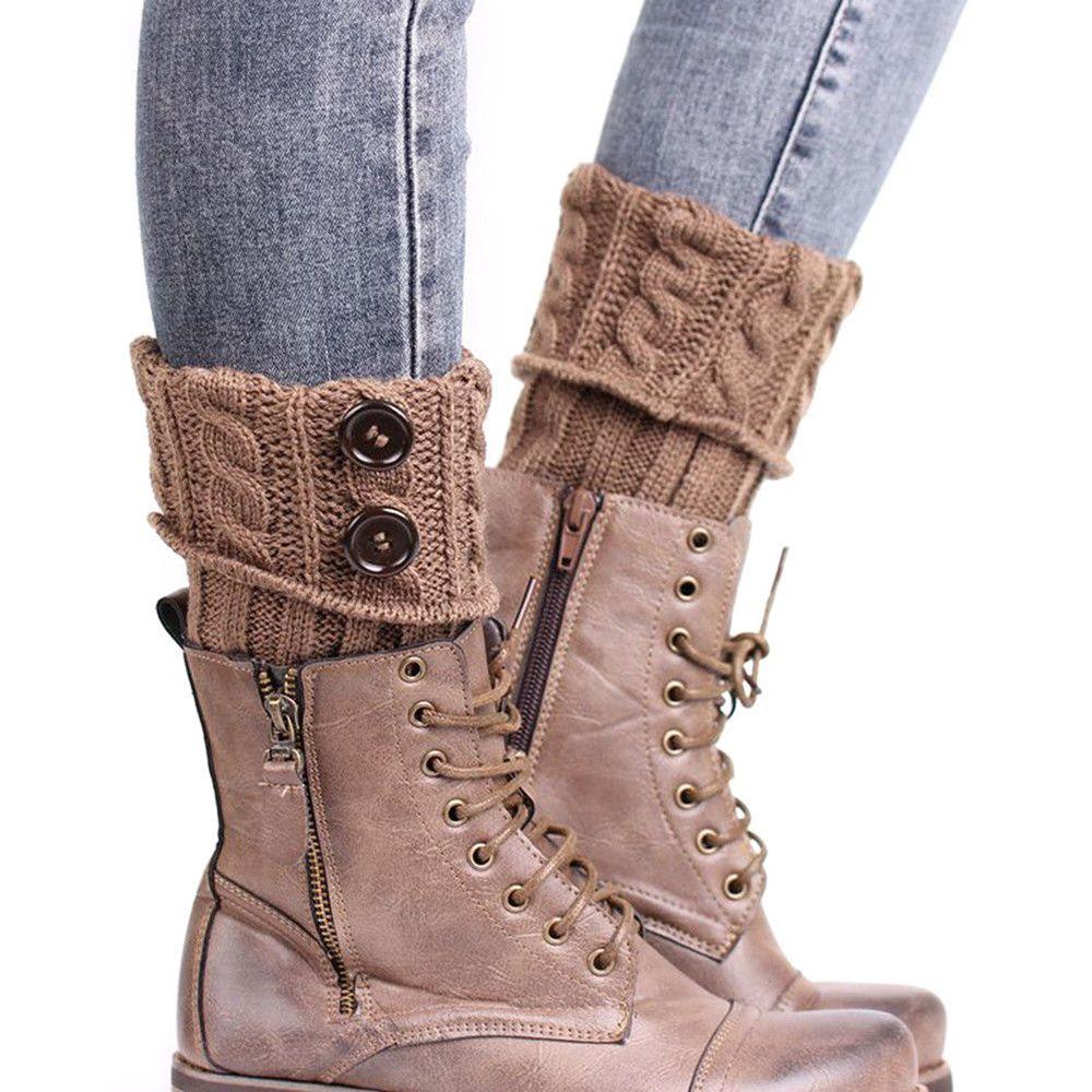 Contemplative 5 Colors Women Knit Leg Warmer Short Boot Cuffs Buttons Crochet Boot Socks Knitted Gaiters Leg Warmers For Autumn/winter For Sale Leg Warmers