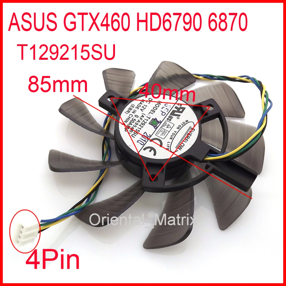 Free Shipping EVERFLOW T129215SU 12V 0.50A For ASUS GTX460 HD6790 6870 Graphics Card Cooling Fan 4Pin 4Wire