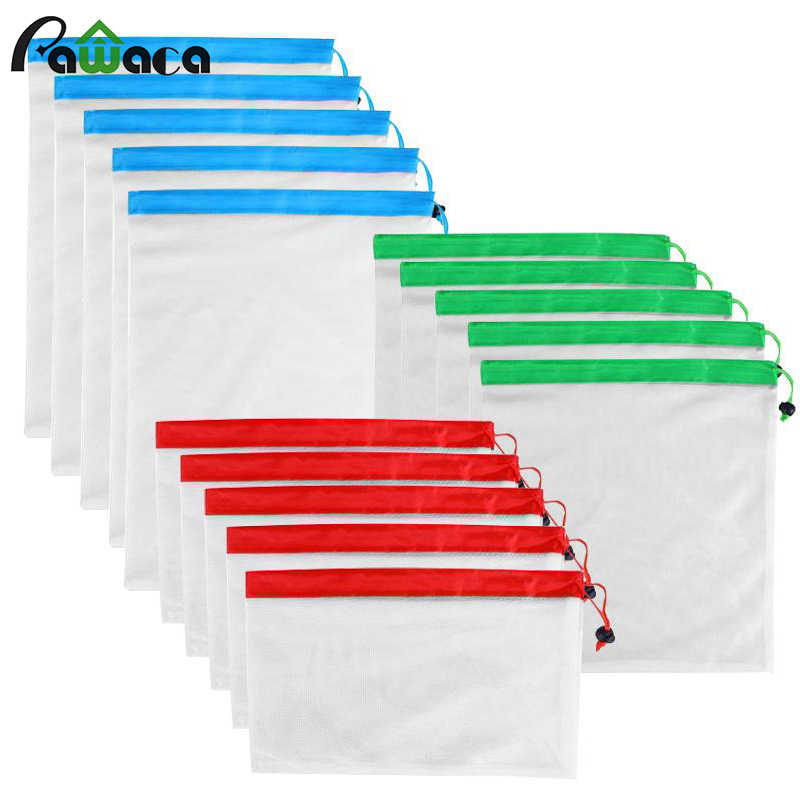 15pcs 12pcs Reusable Produce Bags Washable Mesh Bags for Grocery Shopping Fruit Vegetable Toys Sundries Organizer Storage Bags