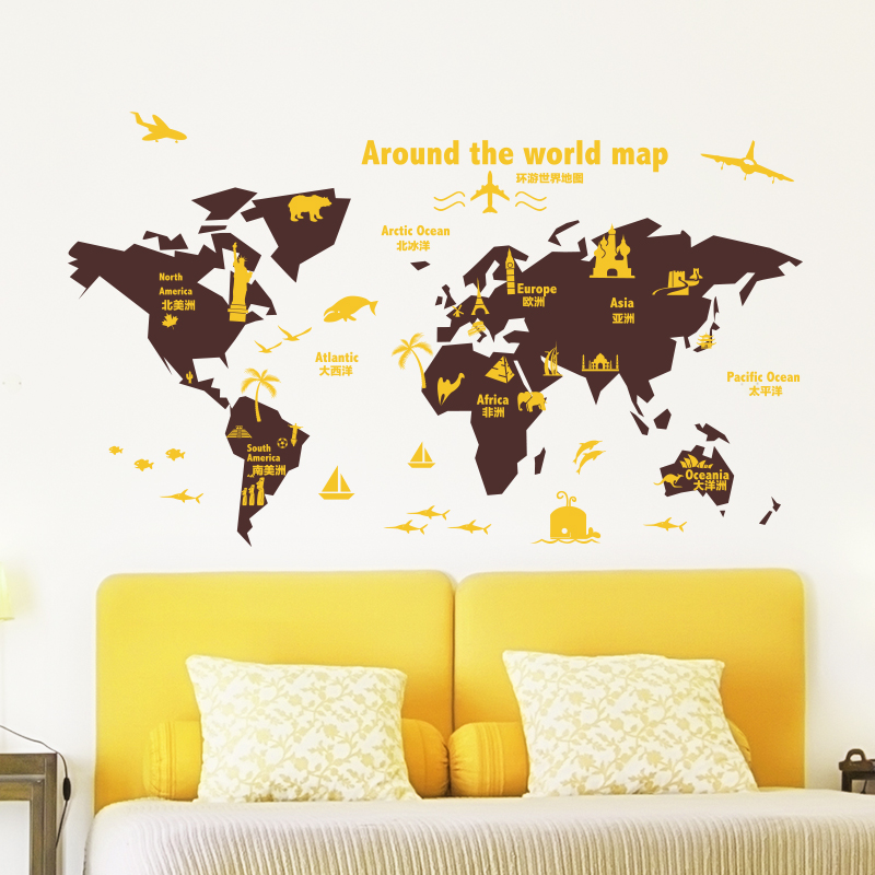 Famous Decorative Wall Maps Of The World Pictures Inspiration - Wall ...