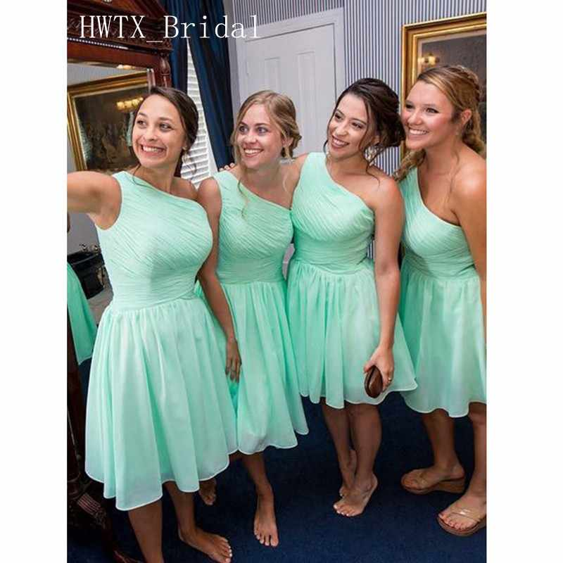 5590809892 Short Bridesmaid Dresses Cheap One Shoulder A Line Mint Green Chiffon Knee  Length Wedding Guest Dress 2018 Maid Of Honor Gowns