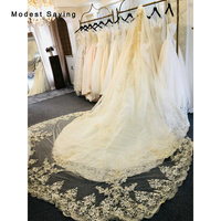 Luxury Champagne 4.5M Church Shiny Sequined Lace Cathedral Wedding Veils 2018 Formal Sparkly Bridal Veils Wedding Accessories