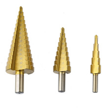 3Pcs/lot HSS Steel Large Step Cone Titanium Coated Metal Drill Bit Cut Tool Set Hole Cutter 4-12/20/32mm Wholesale