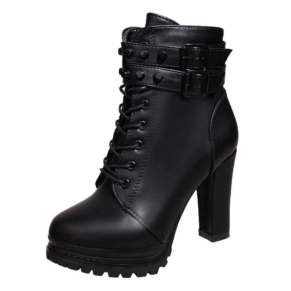 YOUYEDIAN Women Boots 2018 Ankle Boots For Women Lace Up Square Heel Winter Shoes Casual Super High Heel Boots Botas Mujer 7