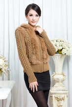 Genuine Sheared Rabbit Fur Jacket hooded knitted coats sweater OEM Free shipping