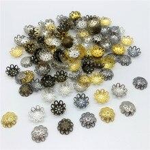 100 pçs/lote 15mm Flor Forma Liga Beads Caps Descobertas Jóias Encantos Colar Pulseiras Spacer Contas Para Fazer Jóias