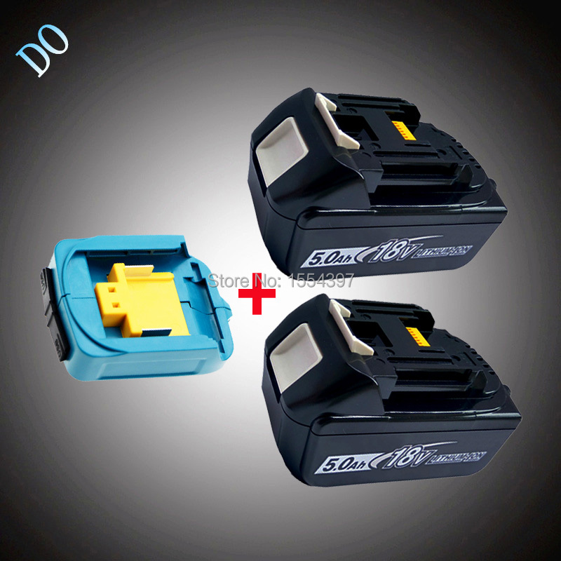 2PCS 18V BL1850 5000mAh Rechargeable Li-ion Power Tool Battery Twin USB Adapter Replacement for Makita 18V BL1830 BL1840 LXT eleoption 18v 2000mah li ion 2 pcs replacement power tool battery for makita 194205 3 194309 1 bl1815 7 2v 18v charger
