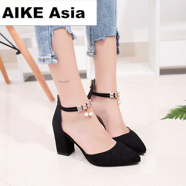 Summer Women Shoes Pointed Toe Pumps Dress Shoes High Heels Boat Shoes Wedding Shoes tenis feminino Side with