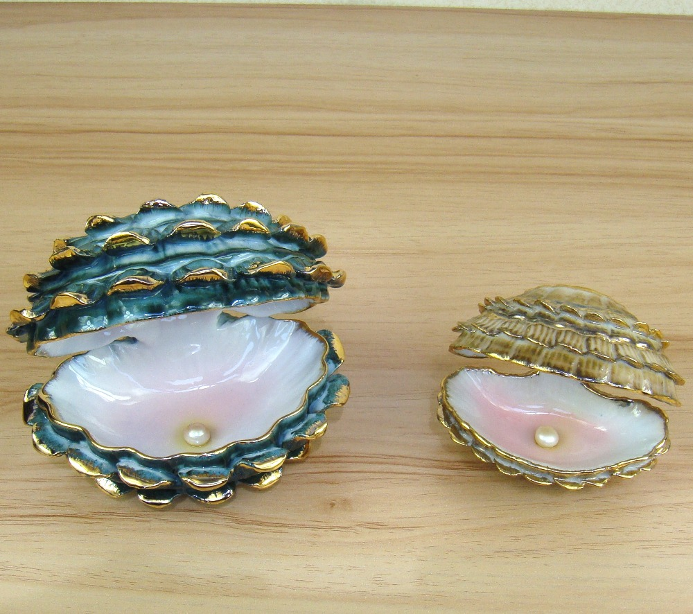 Porcelain pearl mussel model decorative ceramics clam for Pearl arts and crafts closing