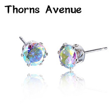 Thorns Avenue Fashion 2PCS/Lot 6mm 19 Colors AAA Cubic Zirconia Push-back Bridal Stud Earring Women Jewelry For Party