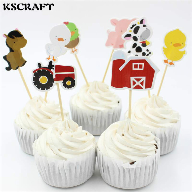 KSCRAFT Farm Animal Party cupcake toppers picks decoration for kids ...