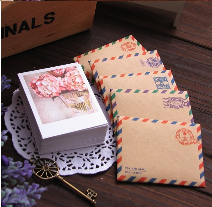 Vintage LOMO card set /with envelopes and stickers /60 sheets gift greeting cards per set 60 x cards kraft envelopes stickers set season 4 dessert mini postcards as festival greeting cards