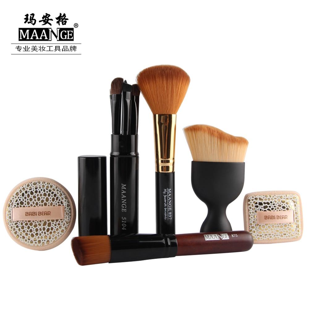 High Quality 6 In 1 Cosmetic Set Eye Lip Makeup Brush Set Foundation Brush Power Puff Sponge Makeup Brushes Set Tool Gift Set спонж isadora compact foundation sponge refill 1 шт