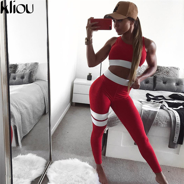 Kliou 2017 Women 2 Pieces suit crop tank striped leggings set Polyester Female Casual Bodysuit Club outfit sporting Tracksuits 2