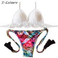 2016 Handmade Crochet Bikinis Set Brand Swimwear Women Floral Print Swimsuit Sexy Bathing Suit Brazilian Beachwear