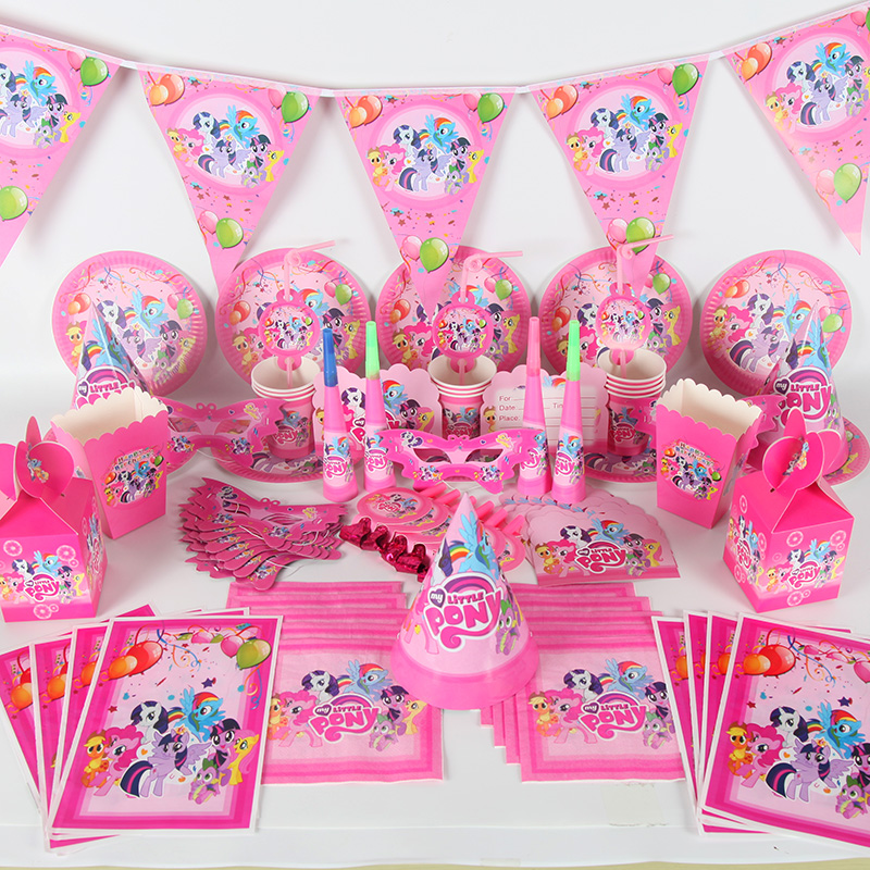 198pcs set Cartoon Horse for 20 Kids Happy Birthday Party Supplies My little Pony Baby Shower