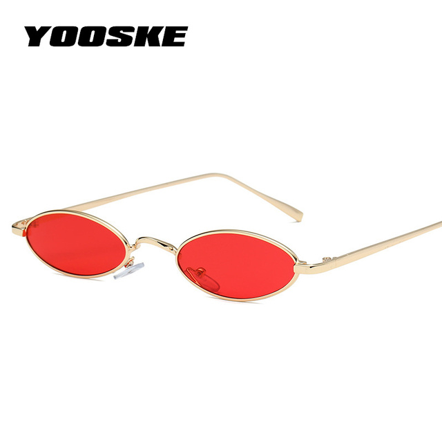 e99c38b88f YOOSKE Small Oval Sunglasses for Women Men Luxury Round Sun Glasses Retro  Metal Frame Clear Red