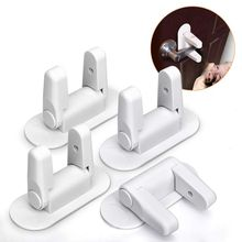 Door Handle Lock - Child/Pet Proof With Adhesive Child Protection (White, 4 Pack)