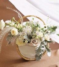 22*12*35cm Half Moon Handmade Flower Basket Weaving Pastoral Arrangement Bouquet Packaging Material