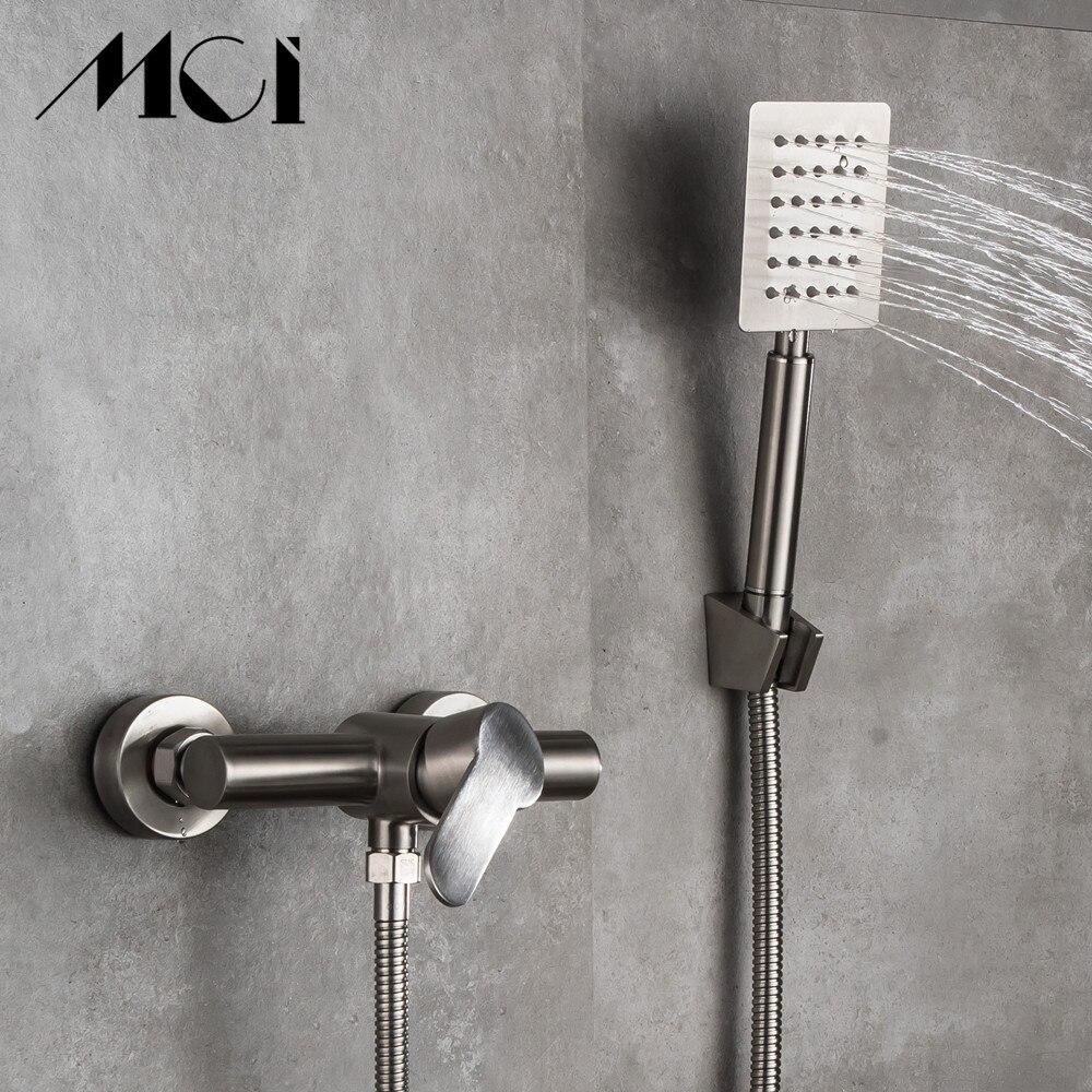 Qualität Edelstahl Bad Dusche Armaturen set Mixer Dusche Badewanne Wasserhähne Regendusche wand Torneira Tap Dusche Mci - 3