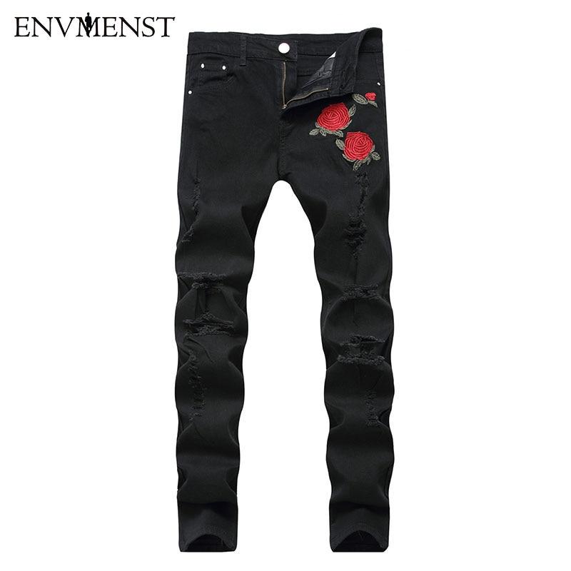 2018 Black Ripped   Jeans   Men Flowers Rose Embroidered Men's Denim Pants Stretch Skinny   Jeans   Hole Pants Street Biker   Jeans