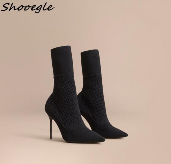 Black Del Punto Mujer Stretch Tobillo Botas Shooegle Las Tacón De Dedo Zapatos Calcetines Mujeres Alto Pie Caliente Negro x0ZzZqwT