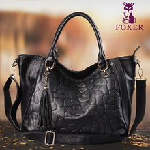 Foxer Famous Brand Women Genuine Leather Shoulder & Messenger Bag Female Embossing Tassel Fall and Winter Tote Lady Handbags